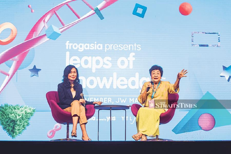 Puan Sri Sherina Leong-Aris (right) with YTL Foundation programme director Datin Kathleen Chew during the keynote session at Leaps of Knowledge Conference.