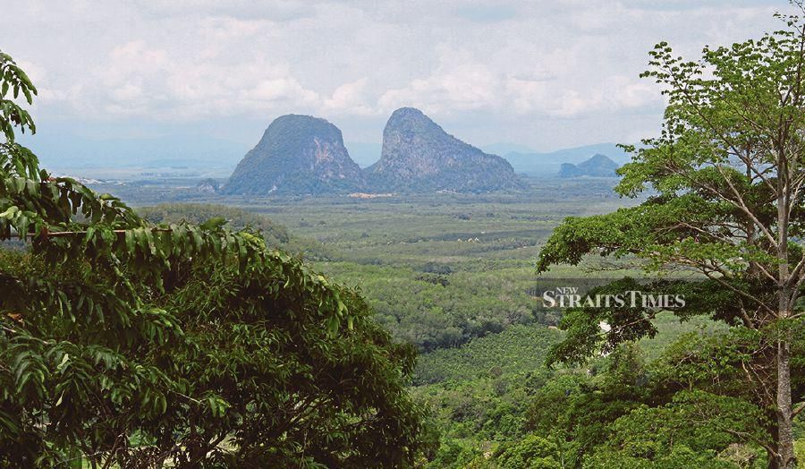 The limestone hills extending over the Nakawan Range and shared by the Thaleban National Park (Thailand) and Perlis State Park are dominated by limestone peaks, caves and outcrops.
