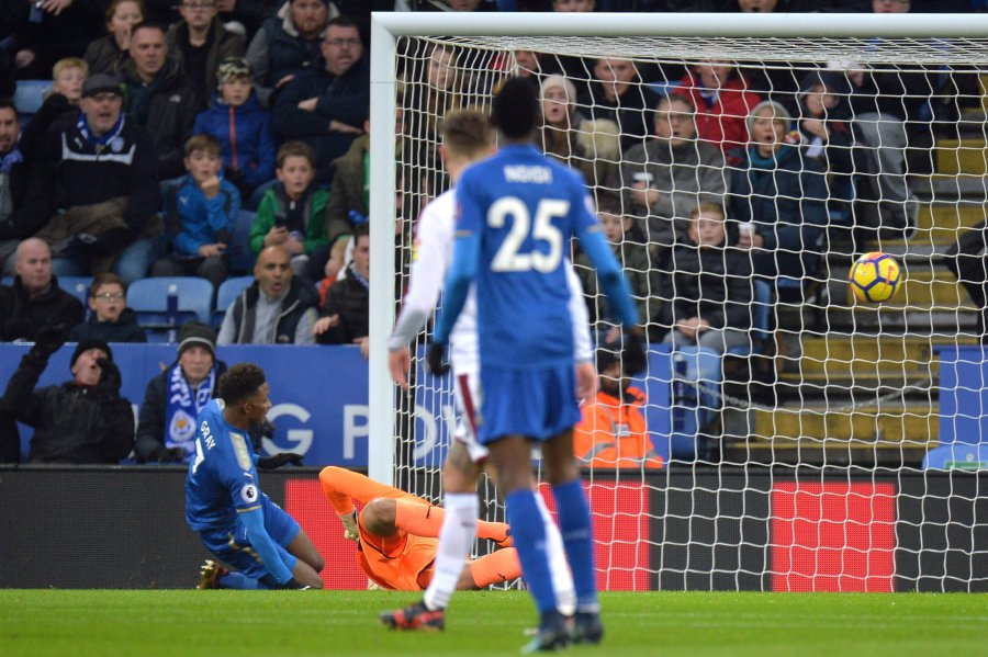 Leicester City's Demarai Gray scores their only goal in a 1-0 win over Burnley. REUTERS