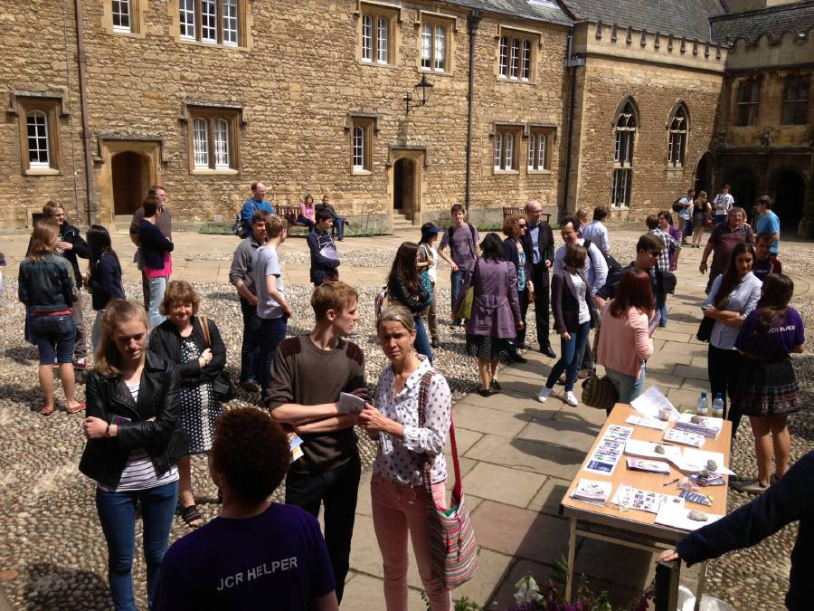 Students getting ready to meet tutors at an Oxford University open day. Its financial endowment has fostered freedom of thought and expression.