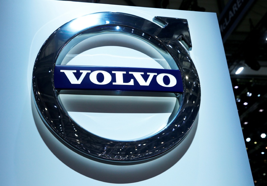 A Volvo Logo Is Pictured On The Stand During 87th International Motor Show At Palexpo In Geneva Switzerland March 7 2017 Geely Owned Car Group