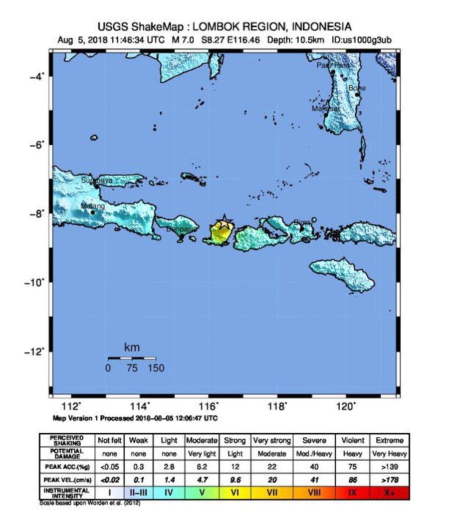 Magnitude 7 earthquake rocks Lombok: USGS | New Straits Times