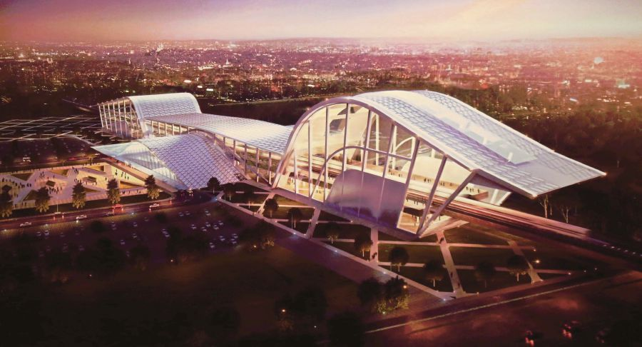 A model of the Batu Pahat high-speed rail station for the Kuala Lumpur–Singapore High Speed Rail (KL-SG HSR) project. KL-SG HSR is the game-changer for cities along the proposed route and for the broader Malaysian socio-economic landscape. FILE PIC
