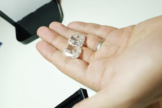 A pair of 30 carat radiant loose diamonds.