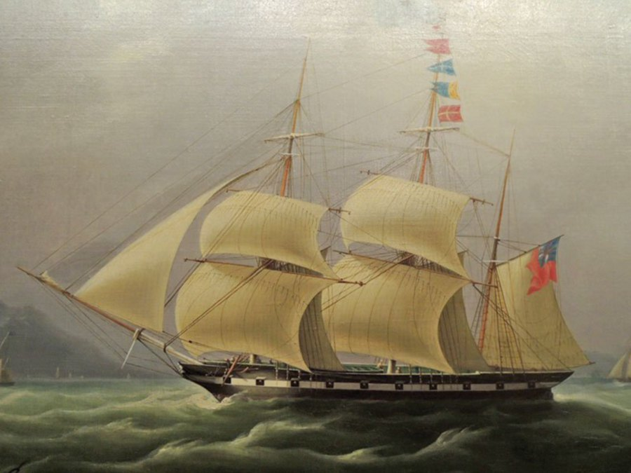 Oil Painting Of An Opium Clipper Off The Coast Hong Kong
