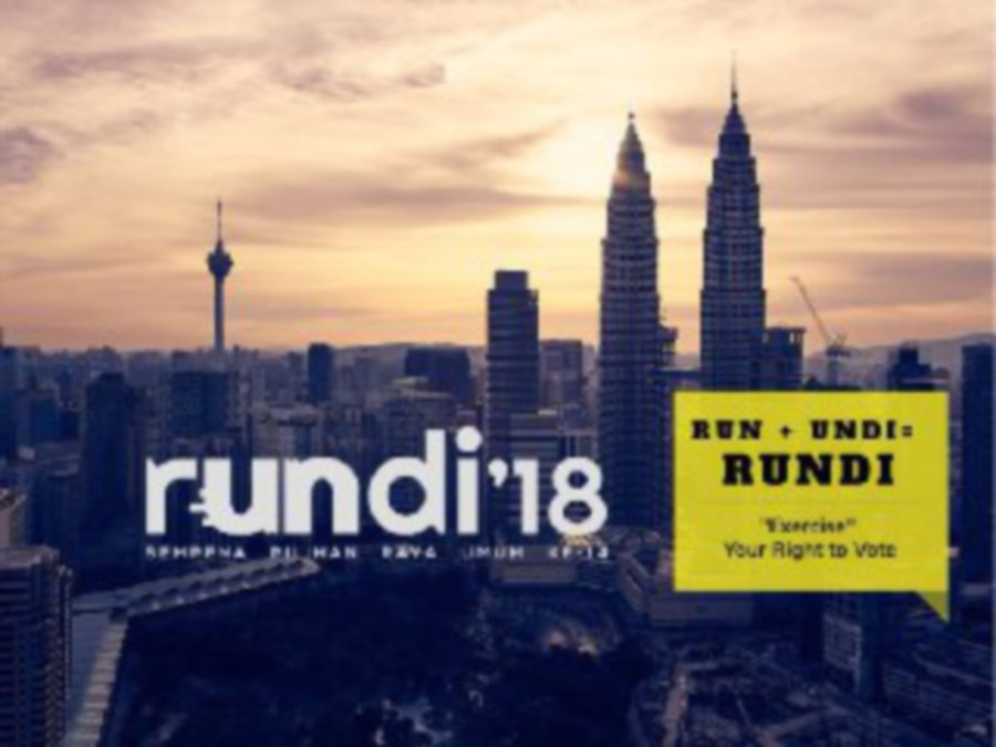 The rules of using the app is simple. Rundi allows users to cast a fictitious vote for any political party whenever they hit the 2km mark while running. (Pic by TEH ATHIRA YUSOF)