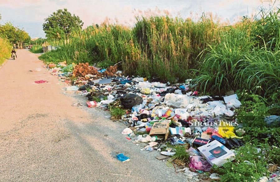 The 200-metre stretch between Kampung Tersusun Klebang and Kampung Sri Klebang is uneven and filled with potholes and illegal dumpsites. (NSTP/ZAHRATULHAYAT MAT ARIF)