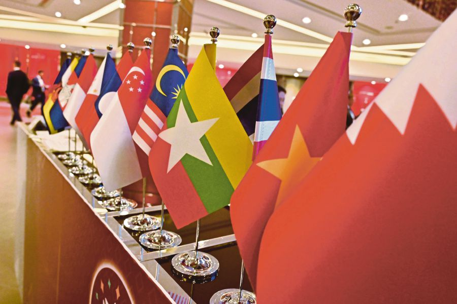 The national flags of the various Association of Southeast Asian Nations (Asean) countries on display. -- File Pix
