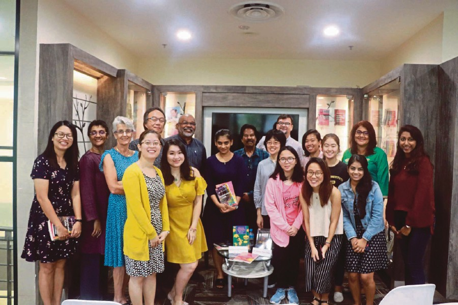Professor Malachi Edwin Vethamani (back row, fifth from left) with participants in his book tour at the National Institute of Education, Singapore.
