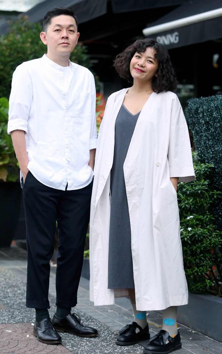 Wong (left) and Kweok, the couple behind Goodpair Socks.