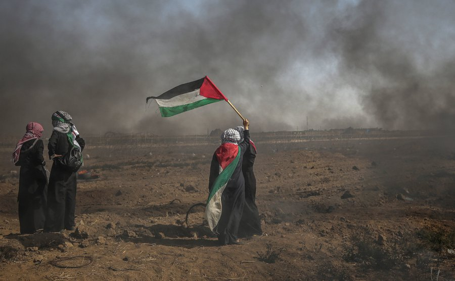 (File pix) Palestinian women take part in clashes after Friday protests near the border east Gaza City, 08 June 2018. EPA-EFE