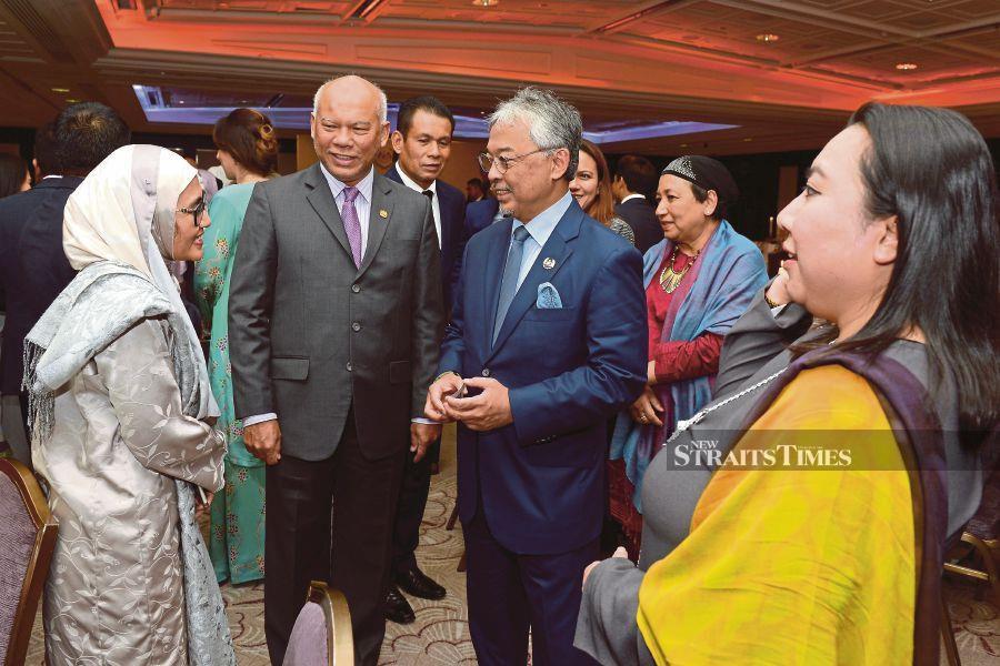 Yang di-Pertuan Agong Al-Sultan Abdullah Ri'ayatuddin Al-Mustafa Billah Shah speaking to guests during a dinner in London on Tuesday. BERNAMA PIC