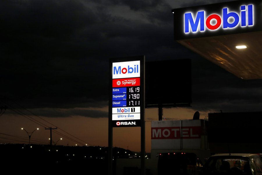 (File pix) An illuminated board at the new Mobil gas station is pictured in Queretaro, Mexico Dec 8, 2017. Reuters