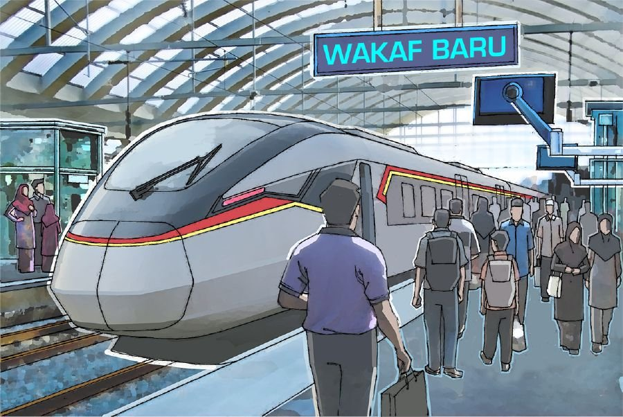An artist's impression of the East Coast Rail Link (ECRL) station in Wakaf Baru, Kelantan. The proposed ECRL is a perfect example of how better connectivity will help transform the generally less developed east coast region.