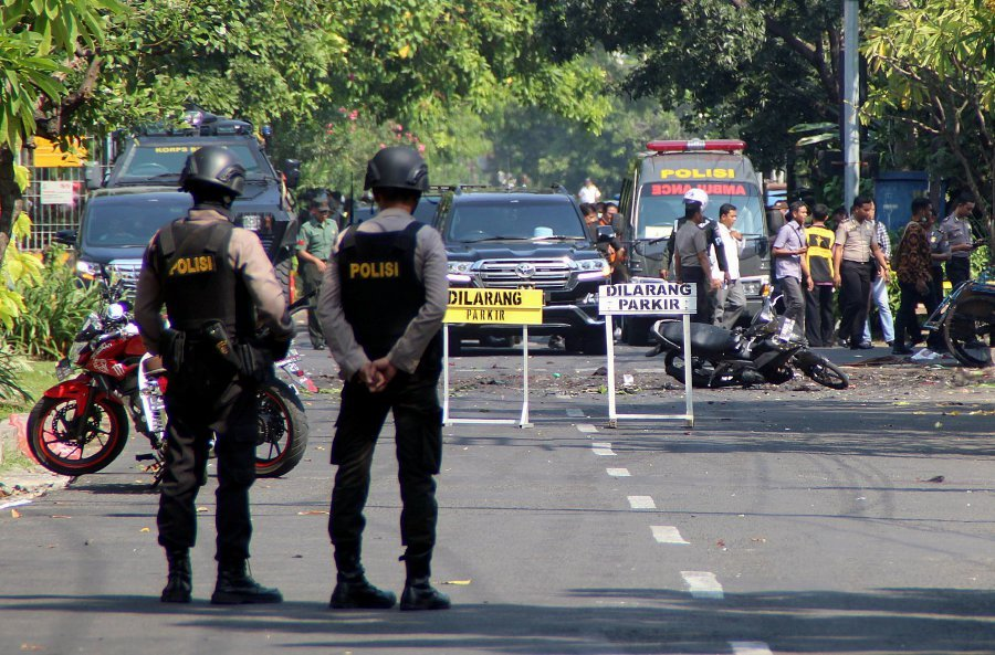 Image result for Seven persons killed, 40 others injured in Indonesia suicide attack