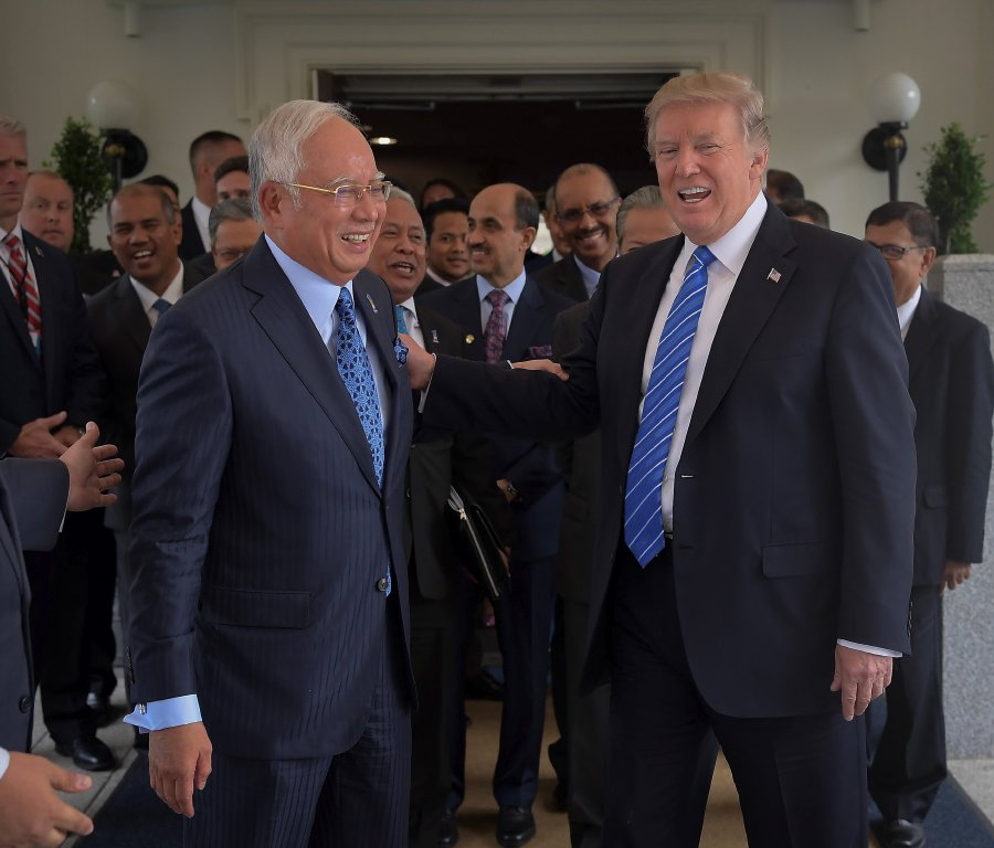 Image result for Najib at thr White House with Donald Trump
