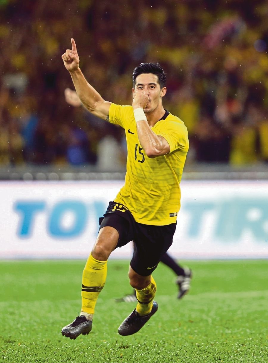 Brendan Gan celebrates after scoring against Thailand in the World Cup/Asian Cup qualifiers on Nov 14, 2019. (FILE PIC)