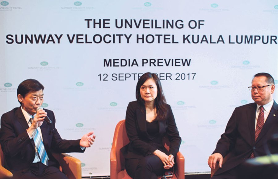 Sunway Hotels & Resorts cluster director of operations Kelly Leong, Sunway Group property division managing director for Malaysia and Singapore Sarena Cheah and Sunway Hotels & Resorts cluster director of sales and marketing T.S. Cheah briefing the media after the opening of the Sunway Velocity Hotel.