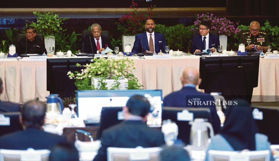 (From left) Defence Minister Mohamad Sabu, Home Minister Tan Sri Muhyiddin Yassin and other cabinet members at the High-Level Roundtable Meeting on the Defence White Paper in Kuala Lumpur in January. FILE PIC