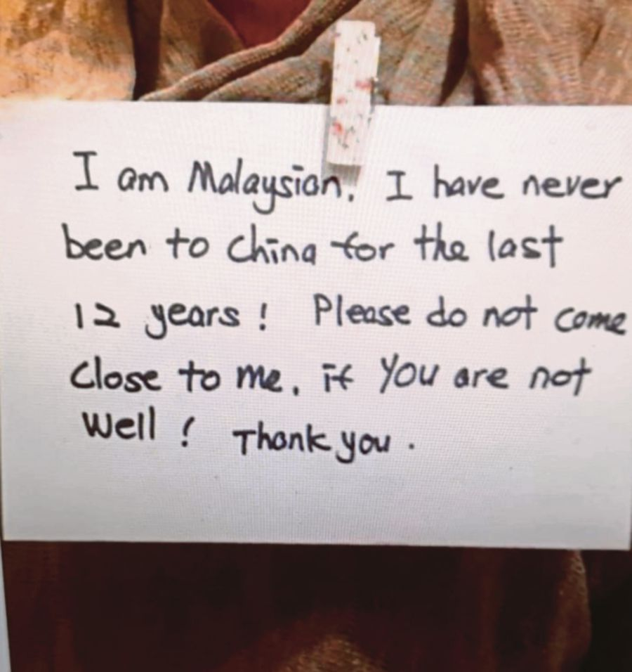 A note written by a Malaysian woman that had gone viral on social media.