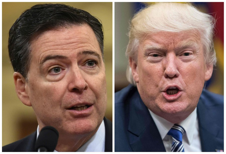 These two file photos show FBI Director James Comey (L) in Washington, DC, on March 20, 2017; and US President Donald Trump in Washington, DC, on June 6, 2017. Trump launched into another Twitter tirade against James Comey on April 15, 2018, hours before the broadcast of an extended interview with the fired former FBI director about his interactions with the US president. AFP PHOTO