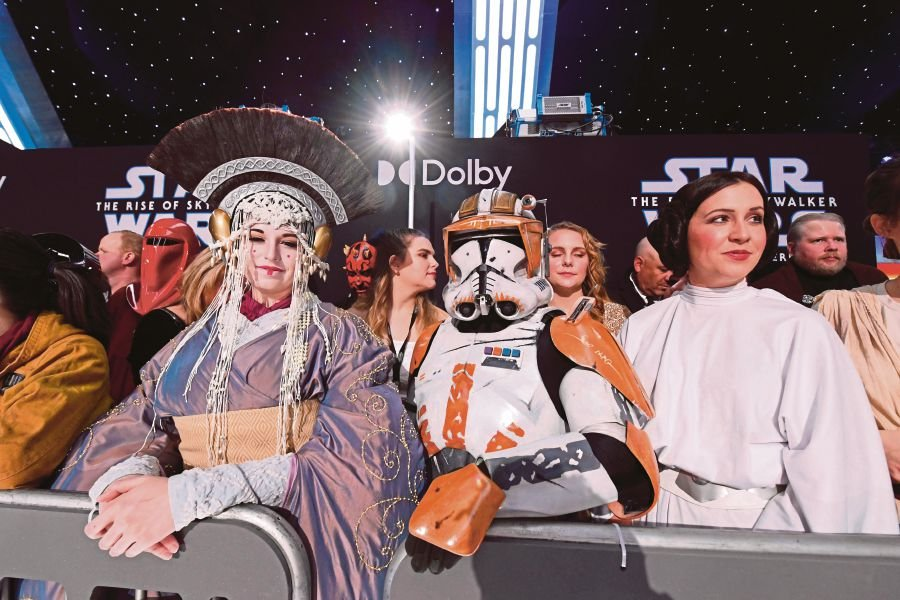 Fans in 'Star Wars' costumes attending the world premiere of 'Star Wars Episode IX: The Rise of Skywalker' at the TCL Chinese Theatre in Hollywood, California, on Monday. -AFP