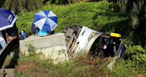 15 passengers hurt as bus jumps divider, ends in ditch