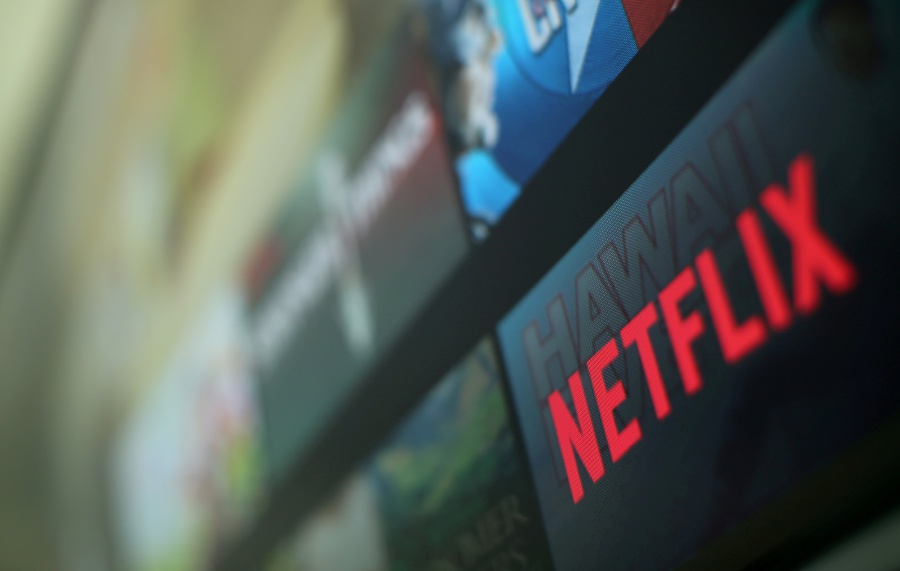 The Netflix logo is pictured on a television in this illustration photograph taken in Encinitas, California, U.S., on January 18, 2017. Reuters