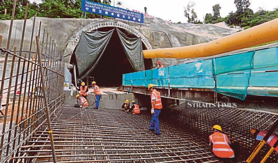 Construction work on the East Coast Rail Link project at  the Kuantan stretch last year. -NSTP/File pic