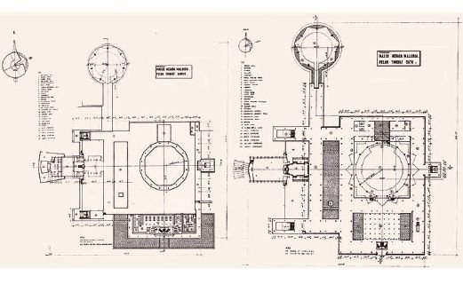 Sketch of the ground floor and first floor of Masjid Negara. COURTESY OF ATSA ARCHITECTS