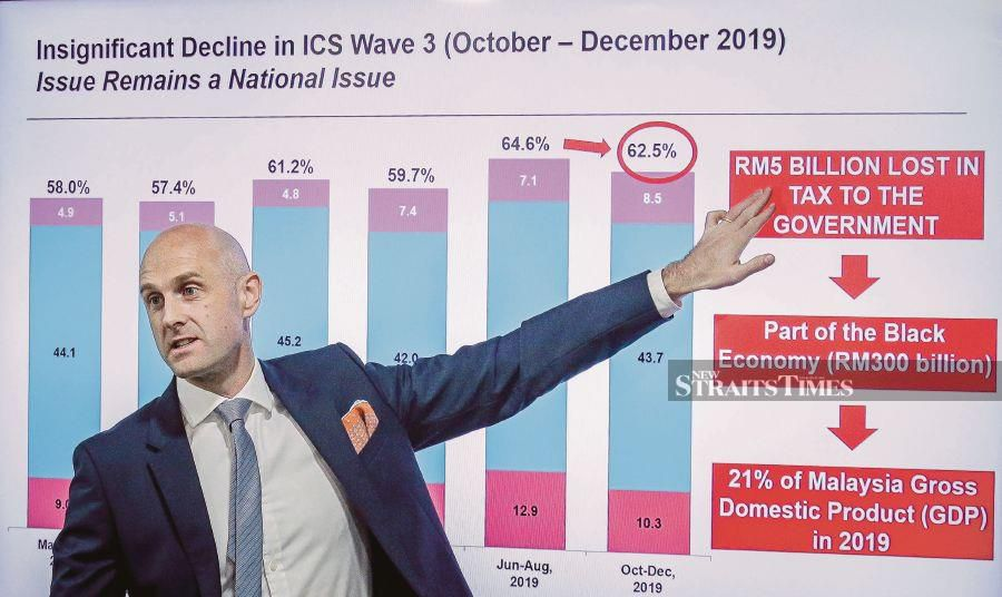 JTI Malaysia managing director Cormac O'Rourke expects sales of illegal cigarettes to grow at least 10 per cent annually if there was no change in a regulatory framework and enforcement in the country. NST pix by Asyraf Hamzah