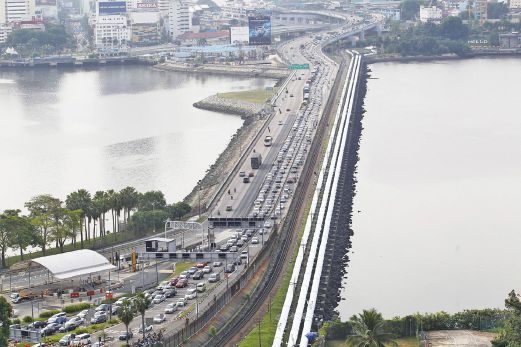 The Causeway connecting Singapore and Malaysia.