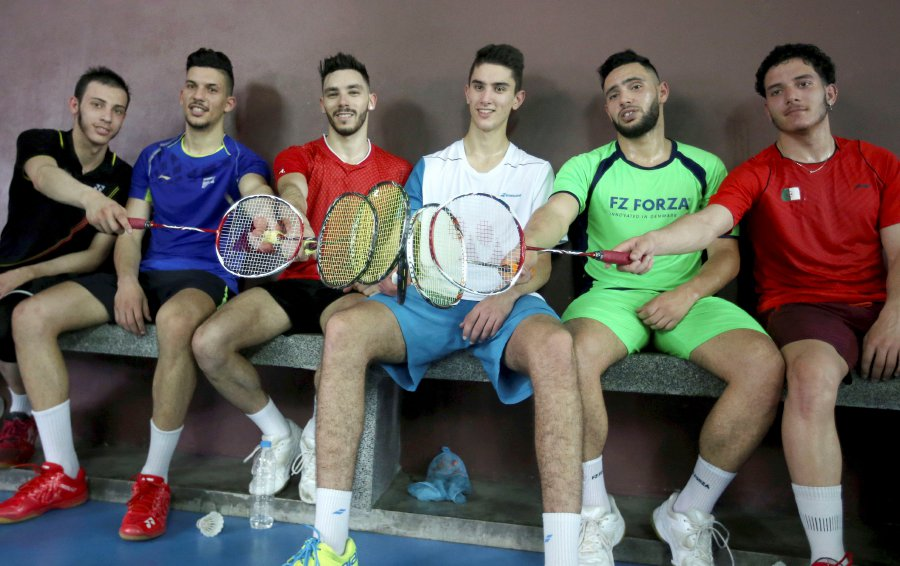 Algeria skipper Adel Hamek (three, left) was over the moon, when he and his teammates got to train in the same hall as Malaysia's Lee Chong Wei, on Sunday. (NSTP/ MOHD YUSNI ARIFFIN)