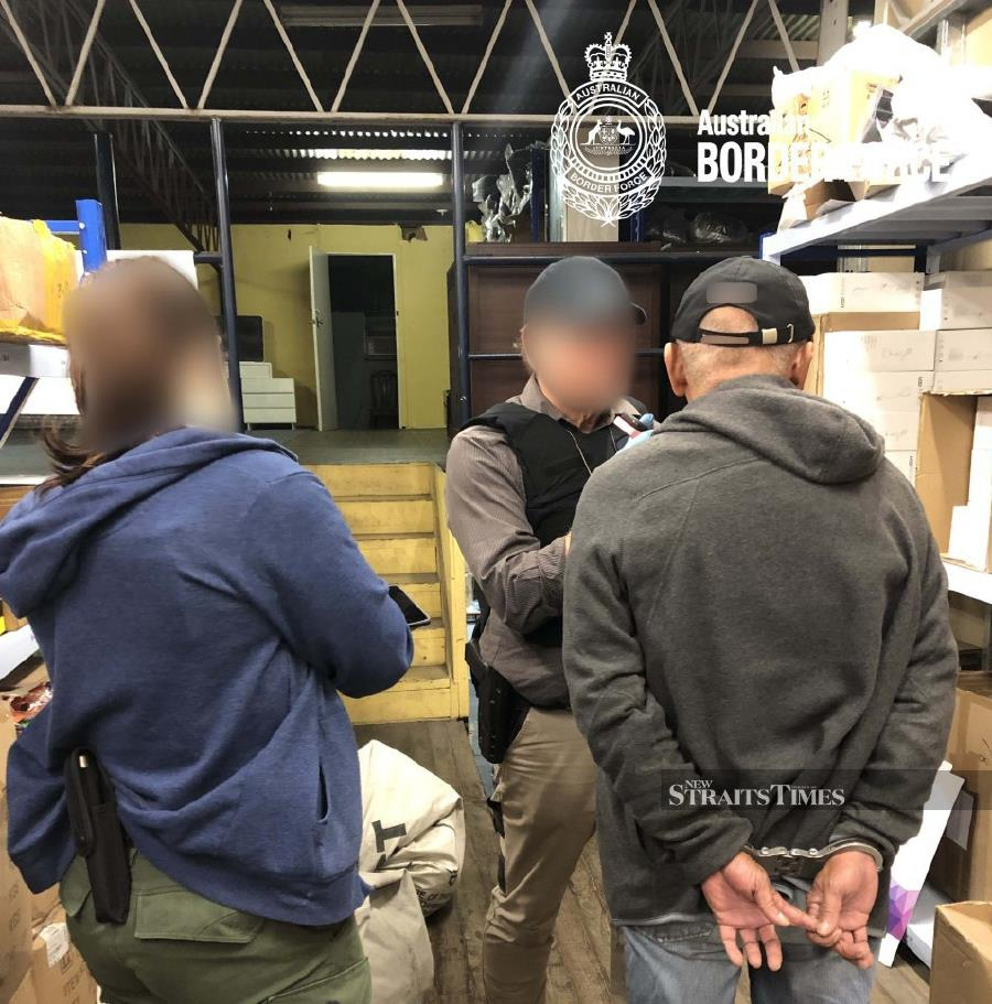 Two Malaysians, including one with a student visa, were detained by Australian authorities on suspicion of being involved in the smuggling of 1,266kg of ephedrine into the country. - NSTP/ courtesy of Australian Border Force (ABF)