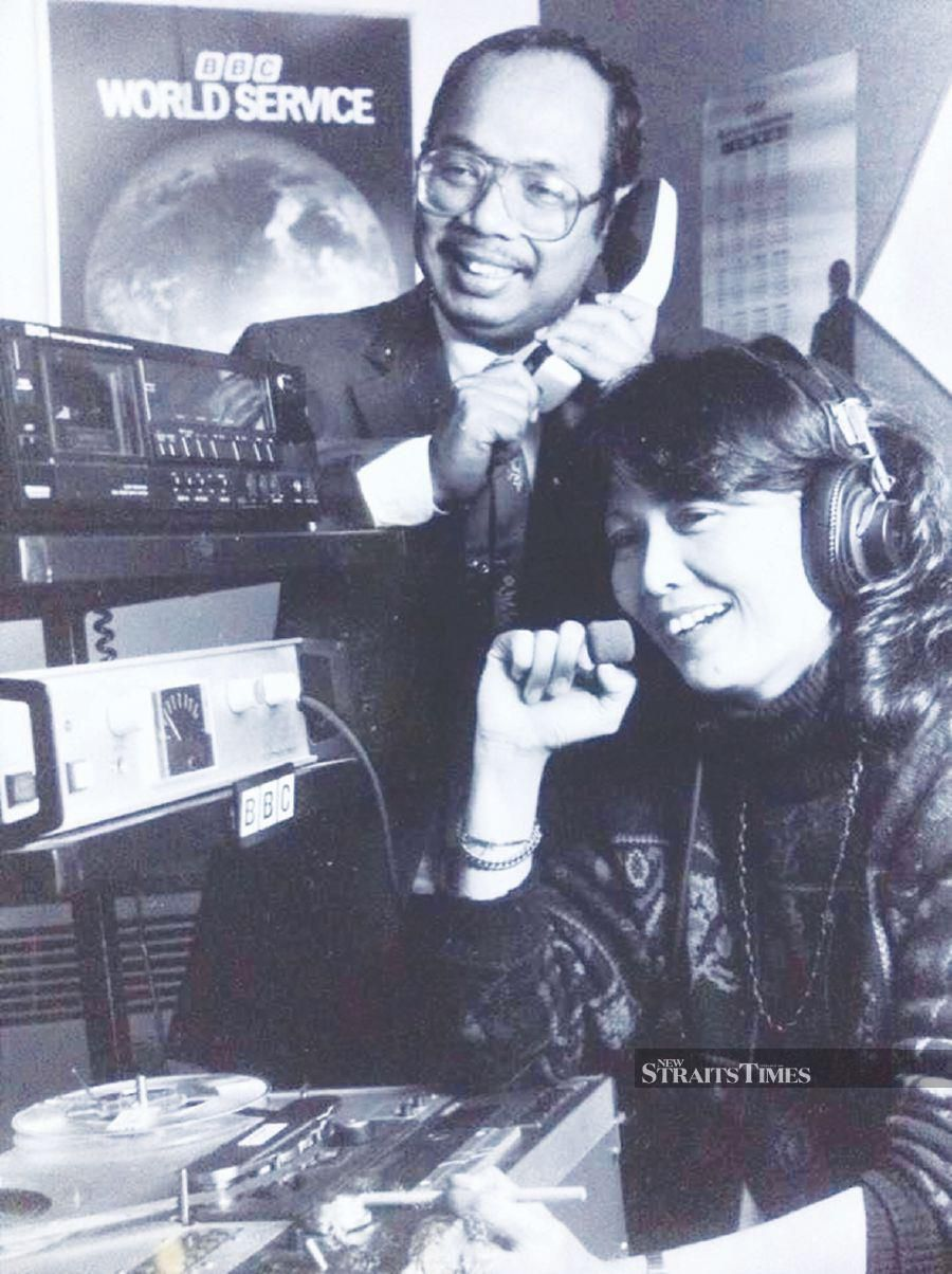 The writer (right) with a colleague at the BBC World Service in the late 80s.
