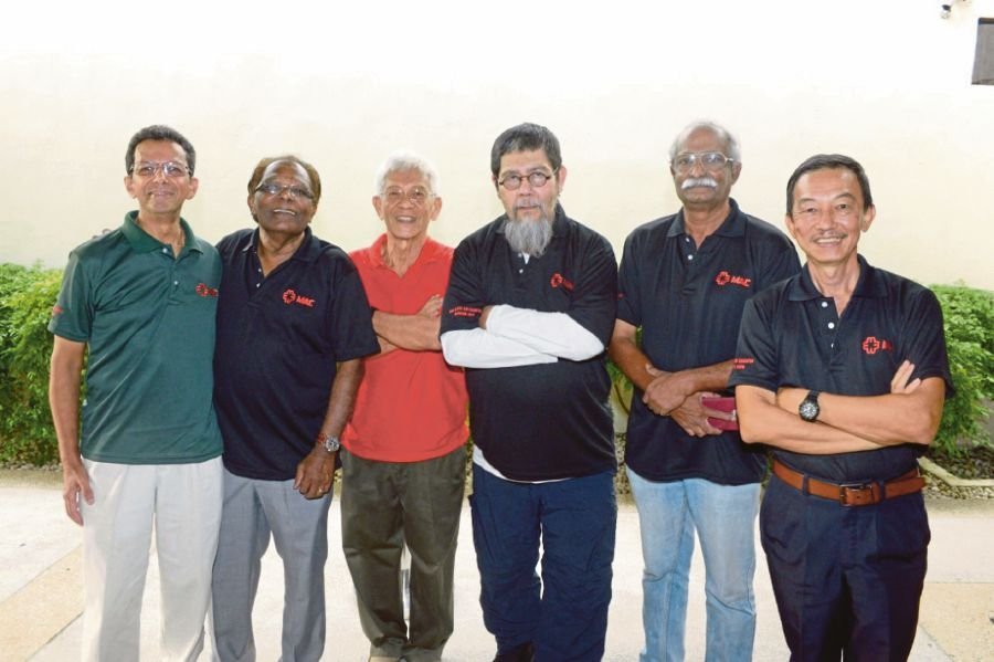 Former MAC Air pilots and crew (from left) Captain Roshan Joshi, Ronald James Abrahams, Captain Tan Kheng Hoe, Captain Syed Abdul Wahab Aidid, Chief T. Dorai and Captain Chew Thean Kung. PIX COURTESY OF MAC AIR