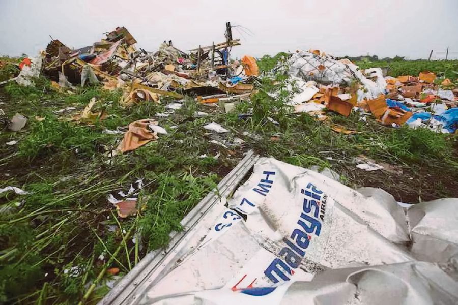 Wreckage from the nose section of a Malaysian Airlines Boeing 777 plane which was downed on Thursday is seen near the village of Rozsypne, in the Donetsk region July 18, 2014.-Reuters