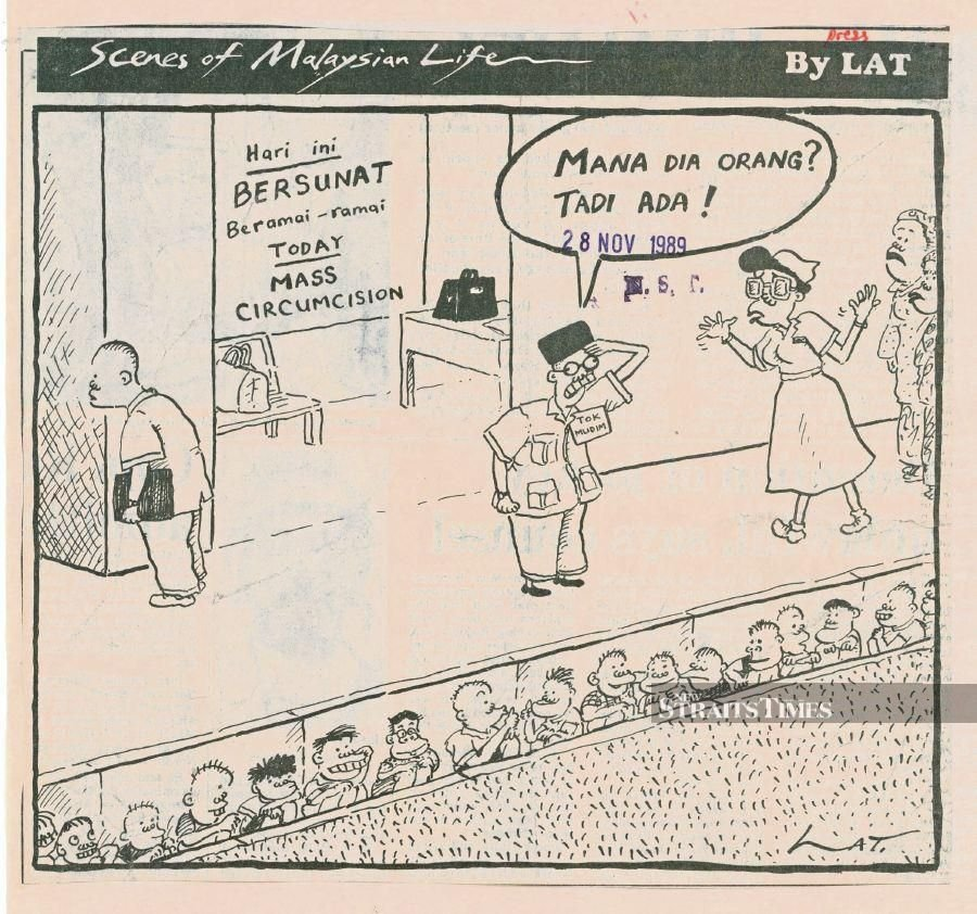 A cartoon dated Nov 28, 1989 on a mass circumcision during the school holidays. The man in the middle is saying: 'Mana dia orang? Tadi ada!' (Where is everyone? They were just here!)