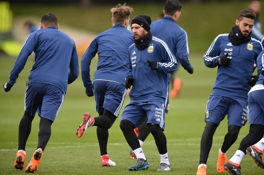 Argentinas Lionel Messi Centre Participates In A Team Training Session At The City Academy Complex Manchester Ahead Of Their March 23
