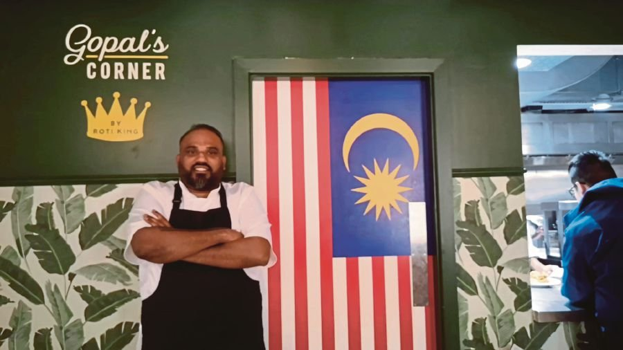 Owner of Gopal's Corner, Sugendran Gopal, at his eatery in Market Hall West End, London. PIX BY ZAHARAH OTHMAN