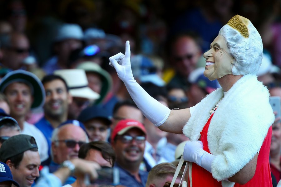 An English fan wearing a mask of Queen Elizabeth II gestures to the crowd on the first day of the first cricket Ashes Test between England and Australia in Brisbane. AFP