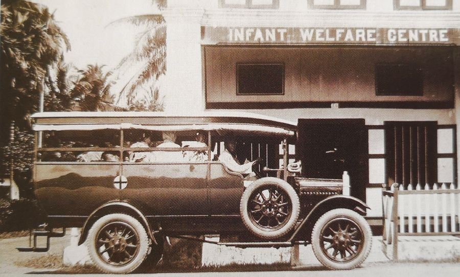 A motor bus was used to transport those who could not afford the journey to the Klang Infant Welfare Centre.