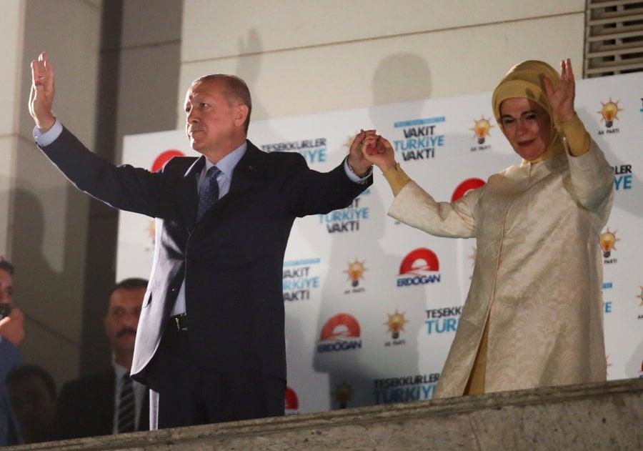 Erdogan says turkey will continue advancing in syria new straits turkish president tayyip erdogan and his wife emine erdogan greet supporters at the akp headquarters in ankara turkey june 25 2018 reuters photo m4hsunfo