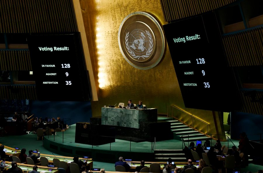 Screens showing results are seen during an United Nations General Assembly emergency special session to vote on a non-binding resolution condemning recent decisions about the status of Jerusalem at United Nations headquarters in New York, New York, on Dec 21. The General Assembly voted overwhelming to denounce President's Trump recognizing Jerusalem as Israel's capital and called on countries not to move their embassies to the city. EPA-EFE