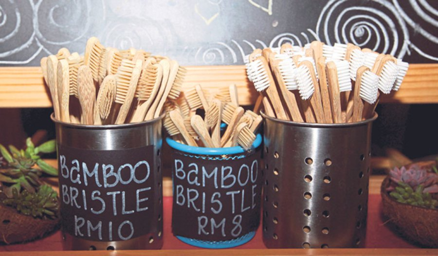 Bamboo toothbrushes are compostable.