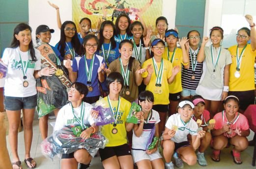 The Penang Open International Juniors Age-Group Championship Girls' categories winners at the Penang Sports Club recently. Pic by K. Kandiah