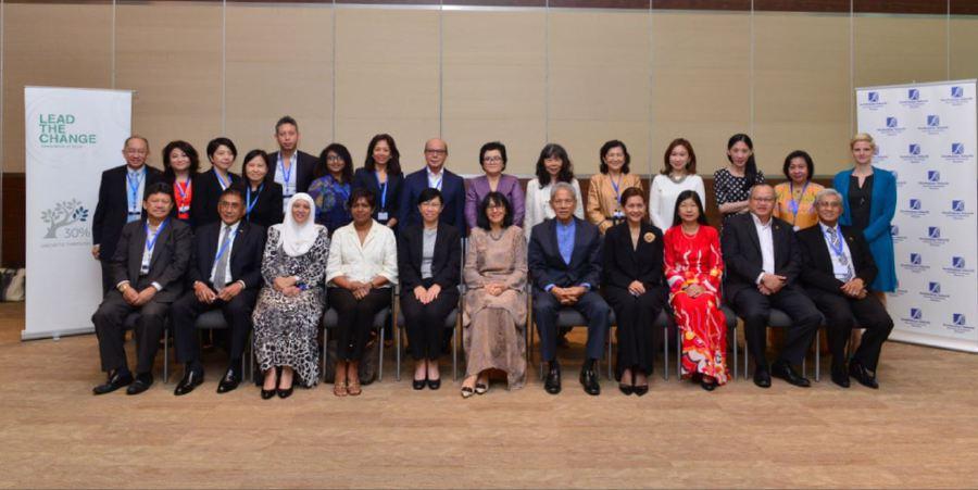 The 30% Club Malaysia founding chair Tan Sri Zarinah Anwar (front row, centre) says during the course of 2017, the club has been focusing its efforts in helping to place at least one woman director on all-male boards, particularly those of large market cap or top 100 companies. (Pic by 30% Club Malaysia)