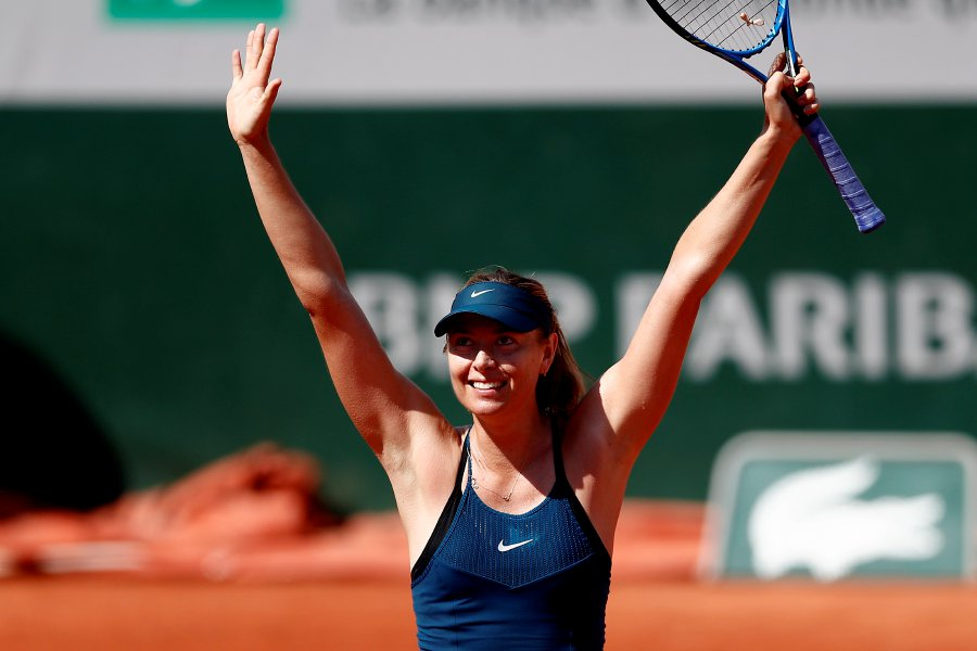 1007c1a8c9c7 Maria Sharapova of Russia reacts after winning against Richel Hogenkamp of  the Netherlands during their women s first round match during the French  Open ...