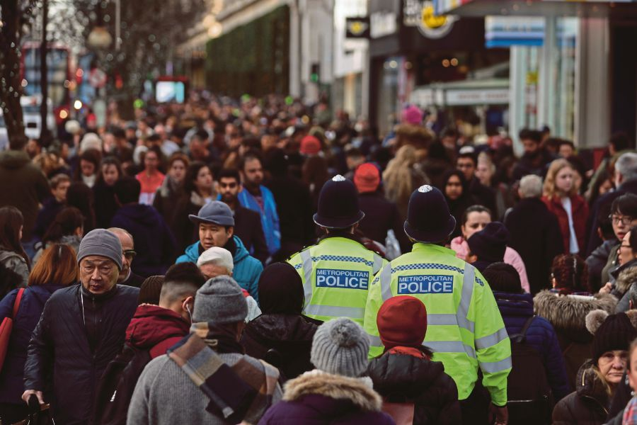 Oxford Street in London. Very rarely will you be approached by plainclothes policemen, and there are no tourist police in London. AFP PIC