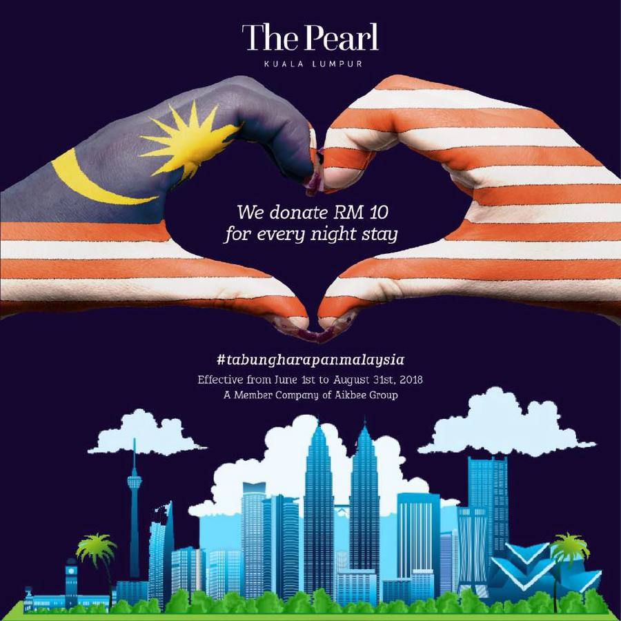 The Pearl Kuala Lumpur hotel will donate RM10 for every room stay towards the Tabung Harapan Malaysia (THM). Pic source: Favebook/thepearlkualalumpur
